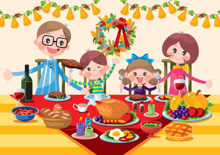 Why the kids table. Feast clipart happy family
