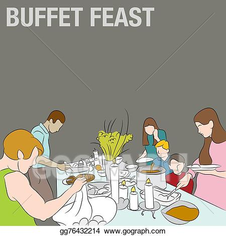 Vector art people in. Feast clipart holiday buffet