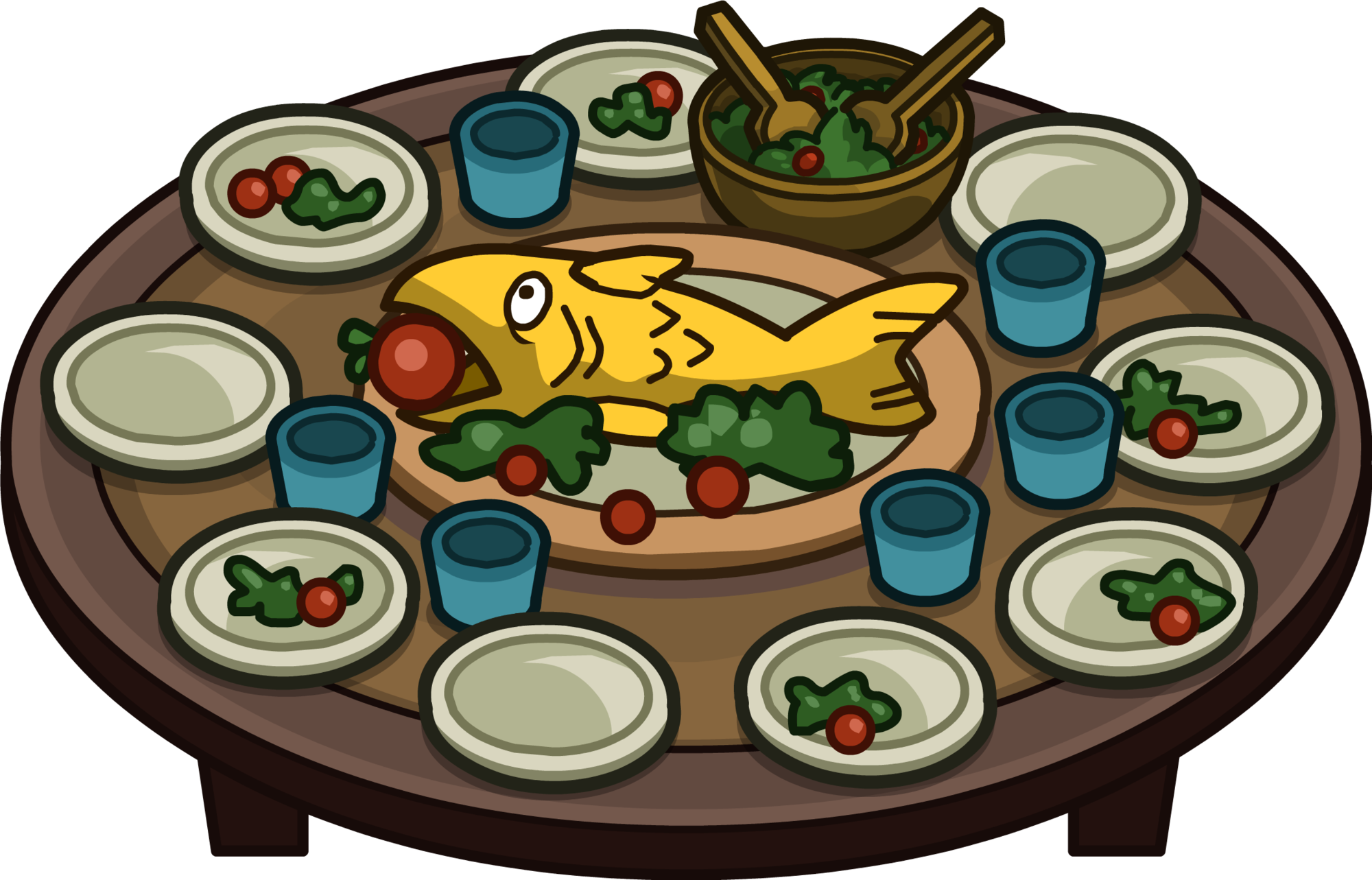 Festive fluffy club penguin. Feast clipart holiday buffet