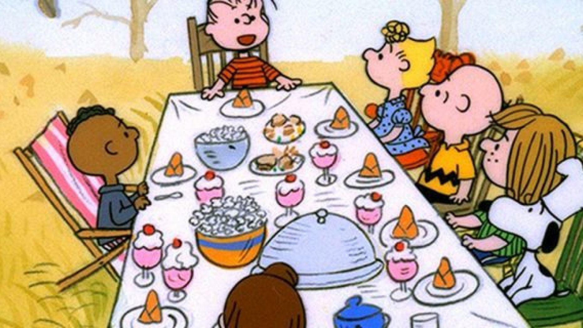 Feast clipart peanuts. Charlie brown cartoon labelled