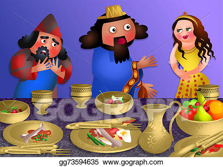 Purim clipart feast. Stock illustration esthers banquet