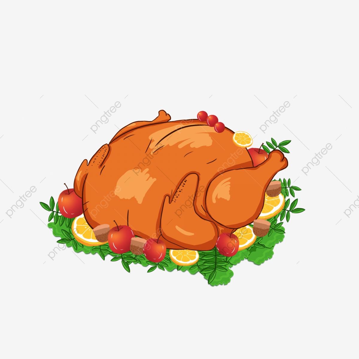 Feast clipart roast chicken. Hand drawn thanksgiving turkey
