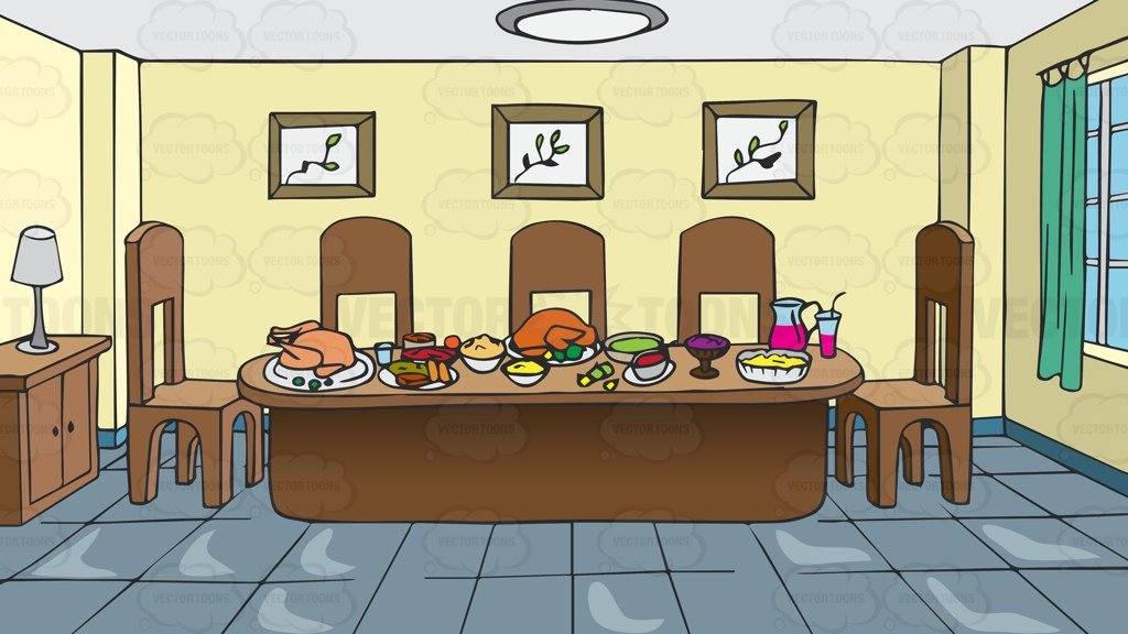 A dining room of. Feast clipart table full food