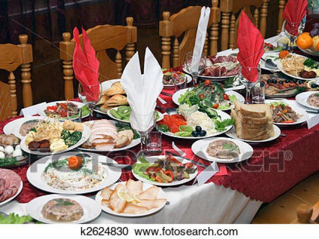 Feast clipart table full food. Free download clip art