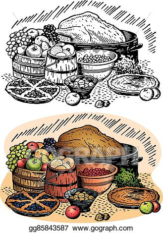 Feast clipart table full food. Clip art vector thanksgiving