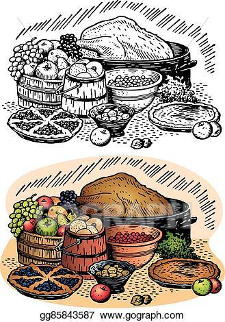 Feast clipart table full food. Clip art vector thanksgiving