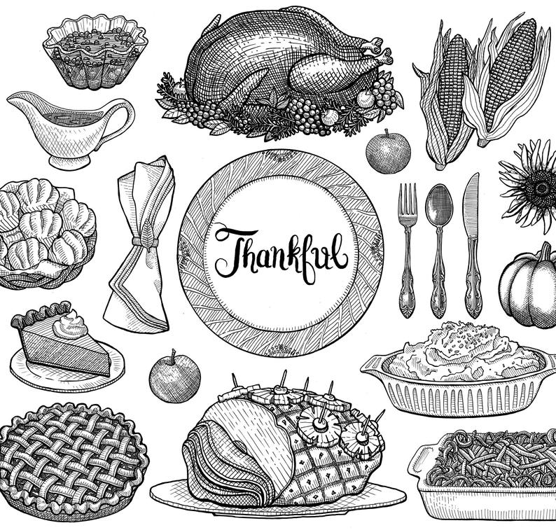 Feast clipart vintage dinner. Thanksgiving instant download lithographic