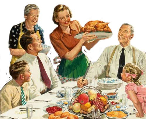 Retro thanksgiving family turkey. Feast clipart vintage dinner