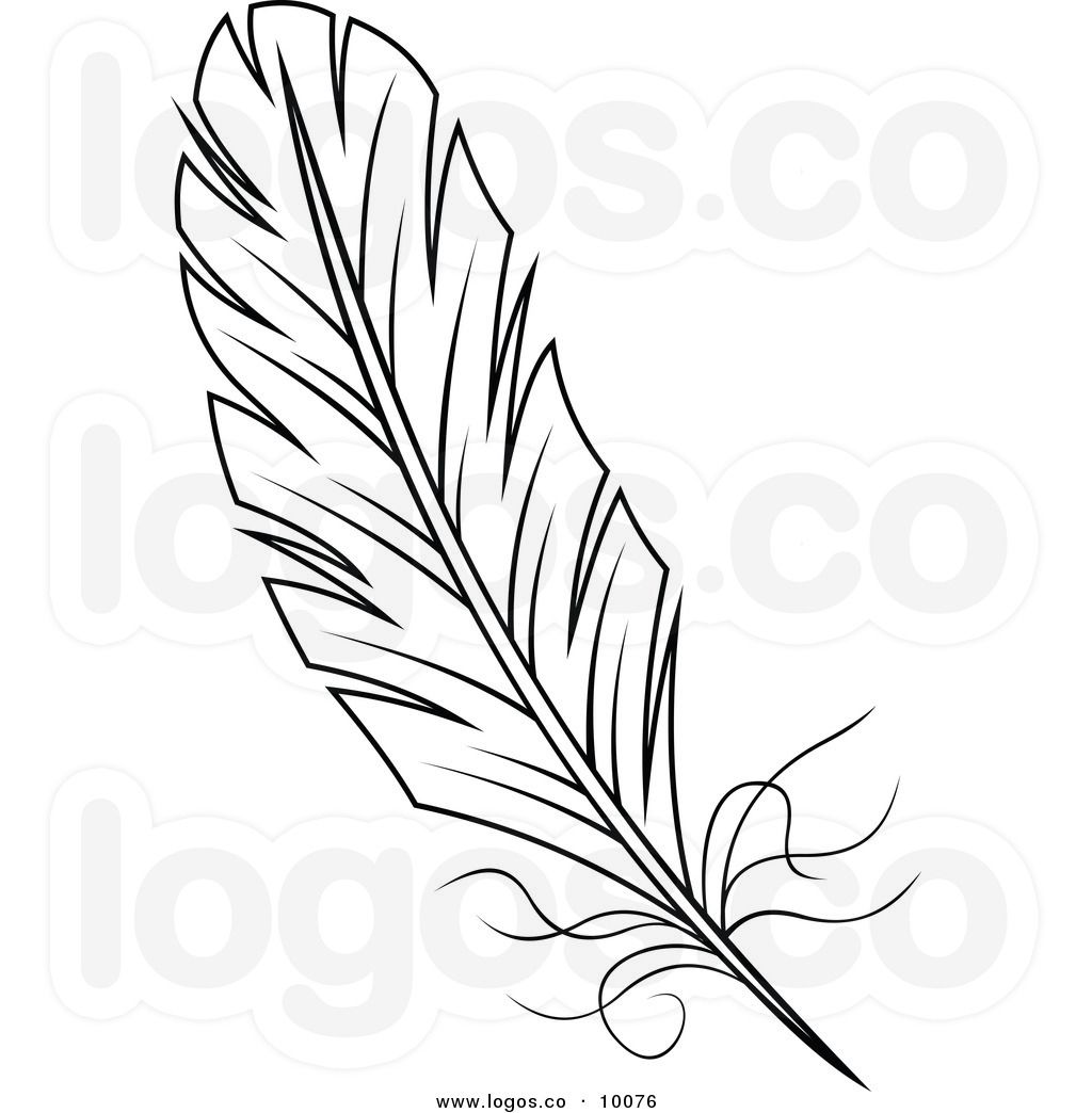 And white logo clip. Feather clipart