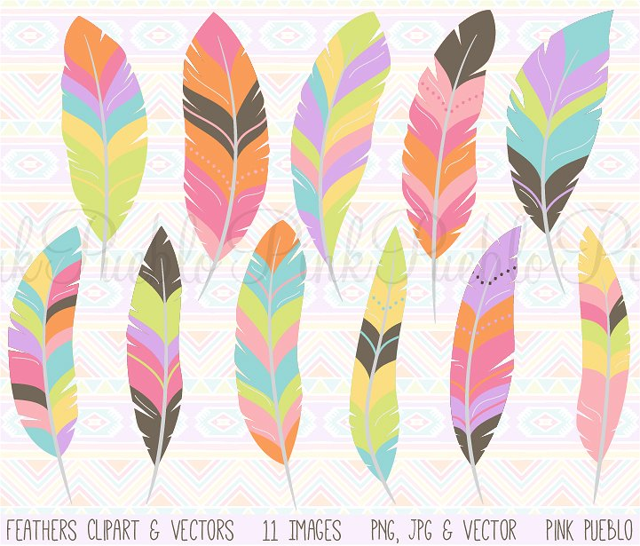 Feather clipart. Tribal and vectors illustrations