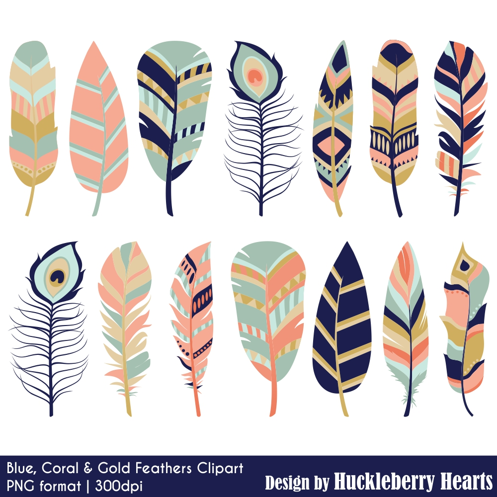 Blue coral and gold. Feather clipart