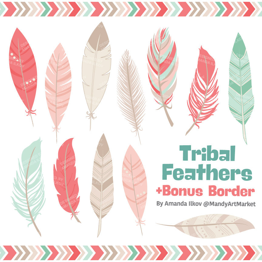 Feather clipart. Professional tribal feathers vectors