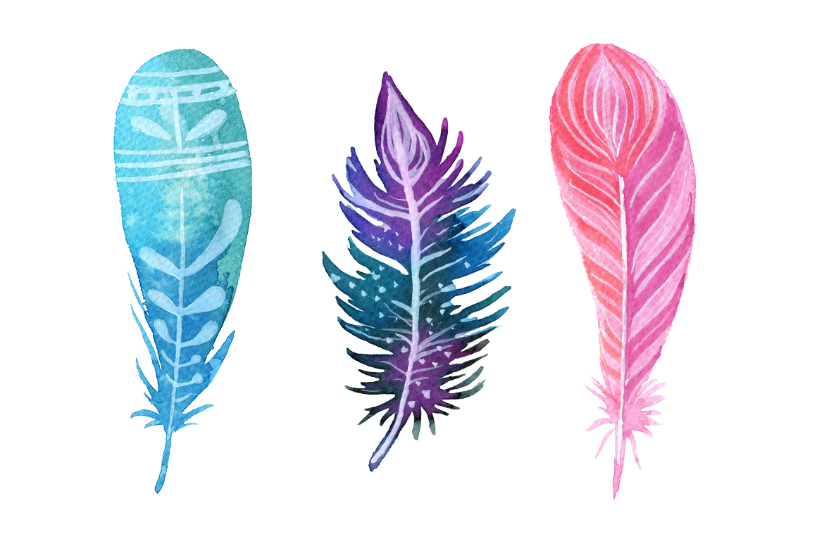 Feather clipart. Boho pencil and in