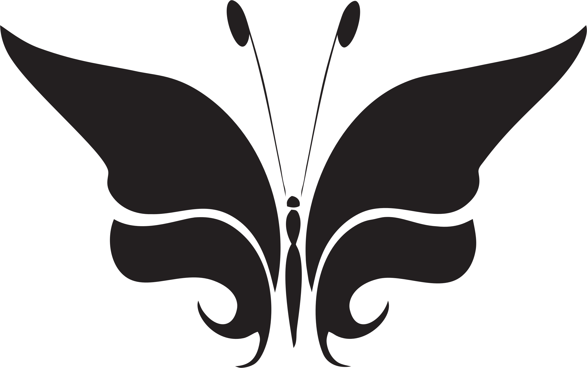 Abstract silhouette big image. Feather clipart butterfly