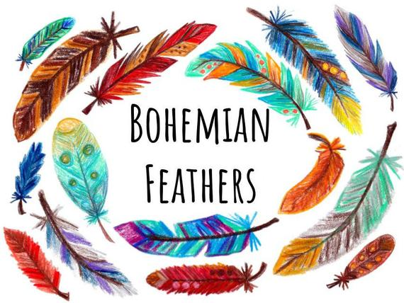 Hand drawn clip art. Feather clipart colored