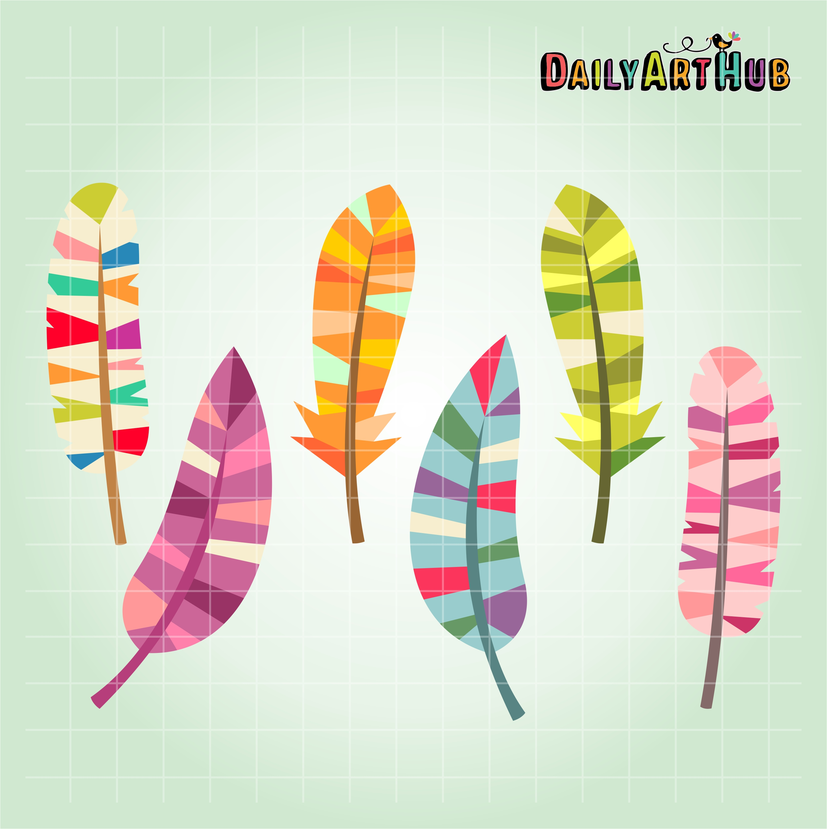 Feather clipart colorful feather. Feathers clip art set