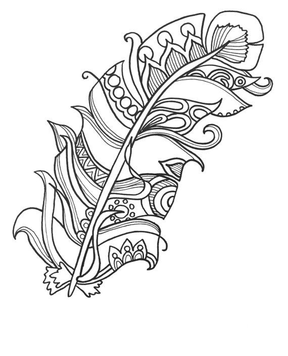 fun and funky. Feather clipart colouring page