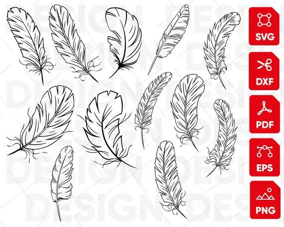 Feather clipart file. Svg bundle feathers boho