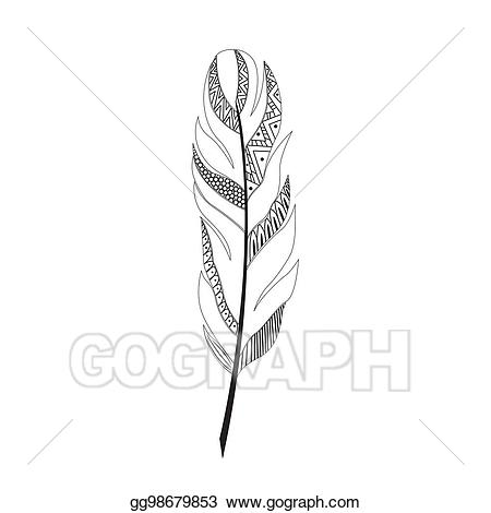 Vector illustration large black. Feather clipart geometric