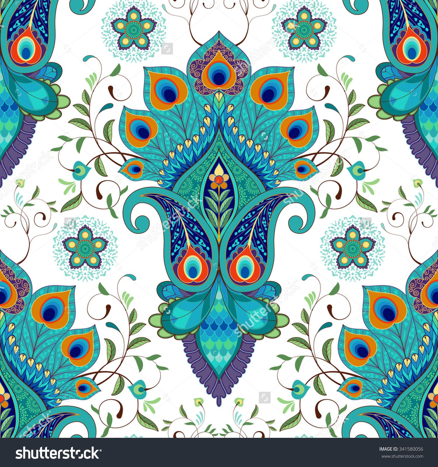 Seamless vector background oriental. Feather clipart paisley peacock