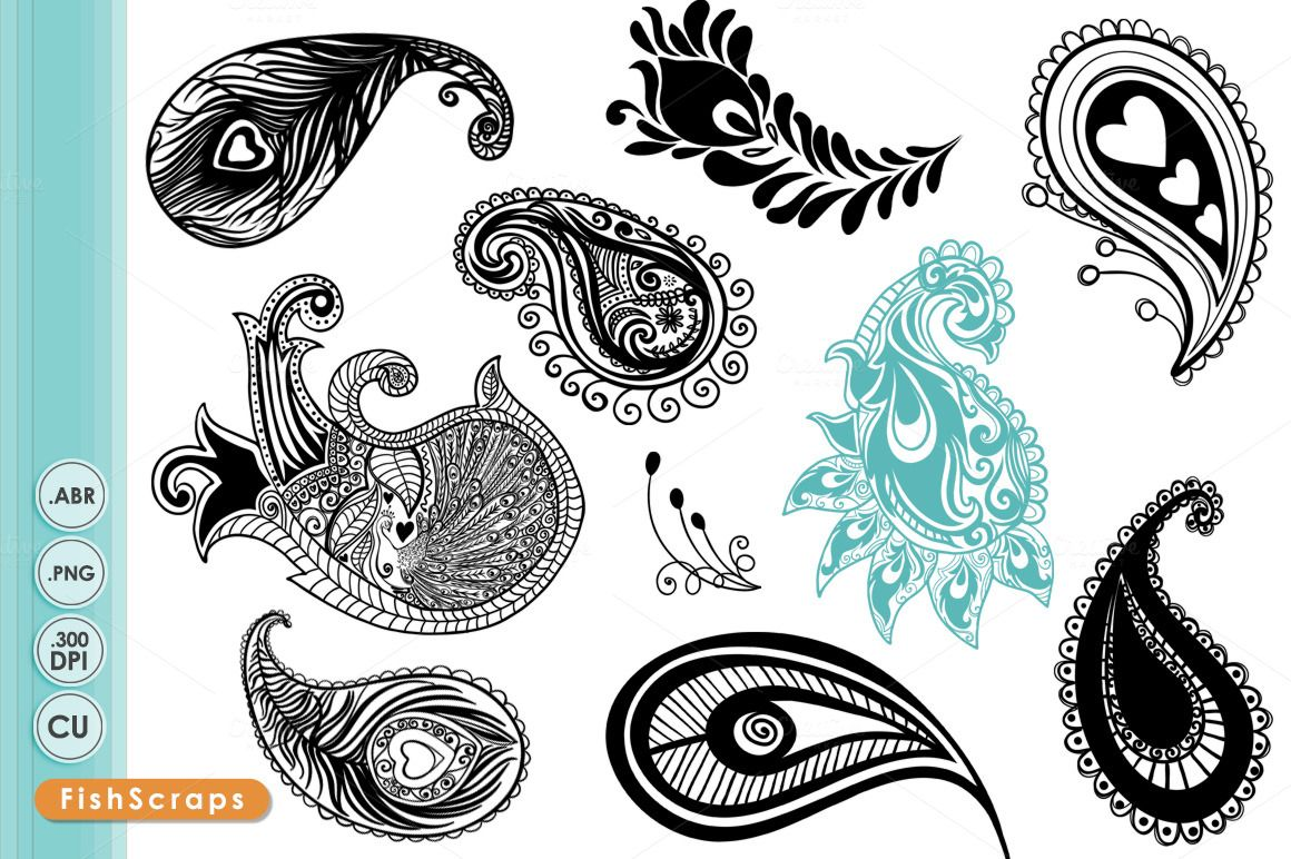 Clip art brushes by. Paisley clipart paisley peacock