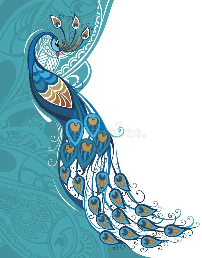 Paisley clipart paisley peacock. Photo about blue with