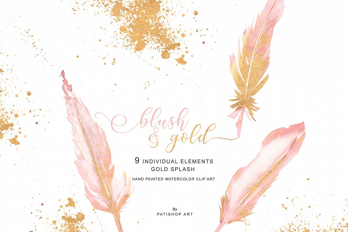 Feather clipart rose gold. Watercolor blush pink