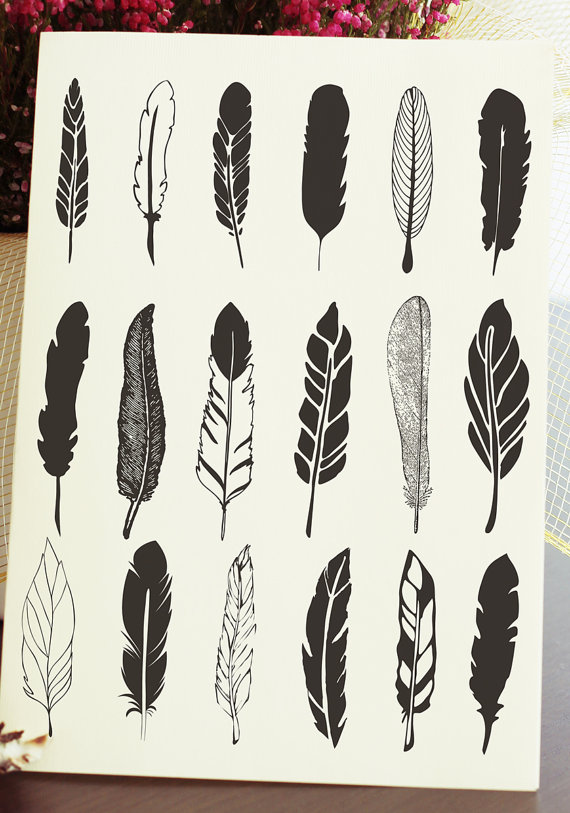 Feather clipart rustic. Hand drawn vector drawing