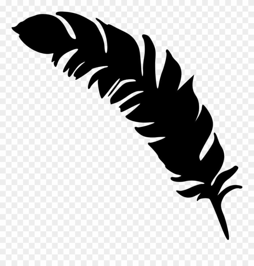 Feather clipart simple. Black and white