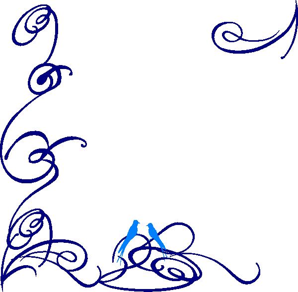 Decorative blue bird clip. Feather clipart swirl