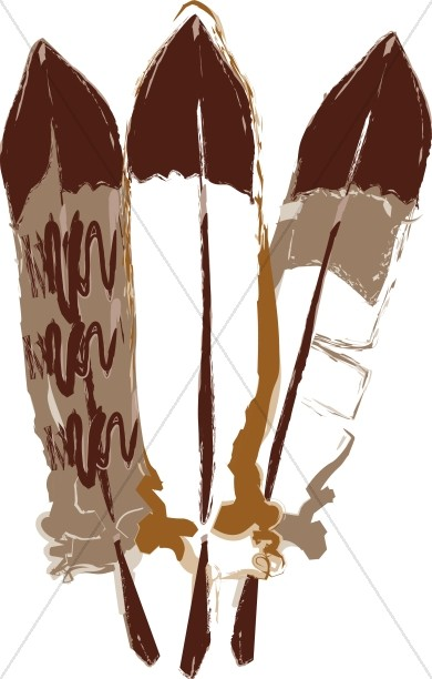 Feather clipart three. Feathers painted thanksgiving