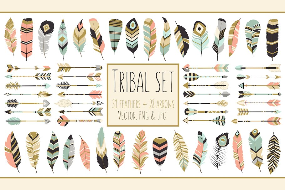 arrows. Feathers clipart tribal arrow