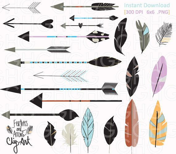 Feathers clipart tribal arrow. Digital arrows and by