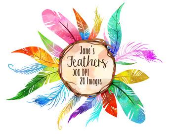 Feathers clipart. Watercolor rainbow by digitalartsi
