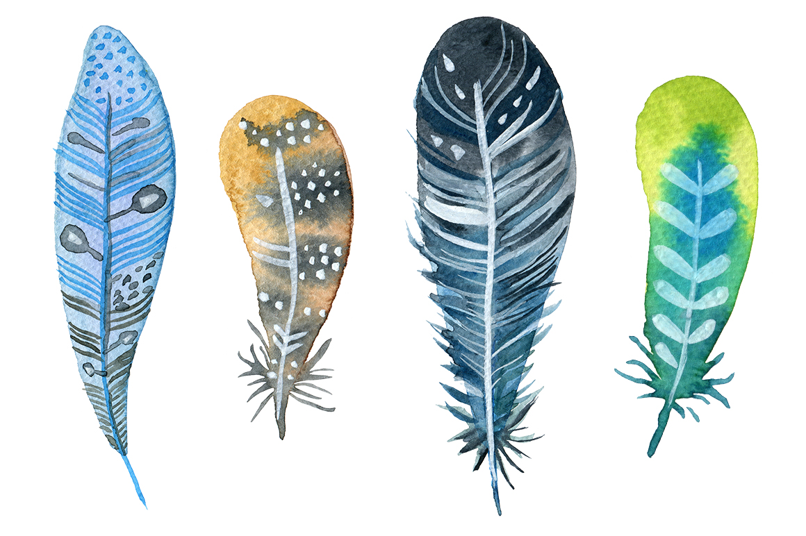 Boho clipart feather. Watercolor feathers set by