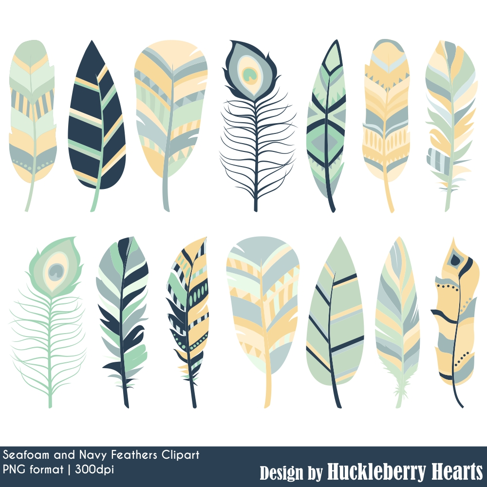 Seafoam and navy huckleberry. Feathers clipart