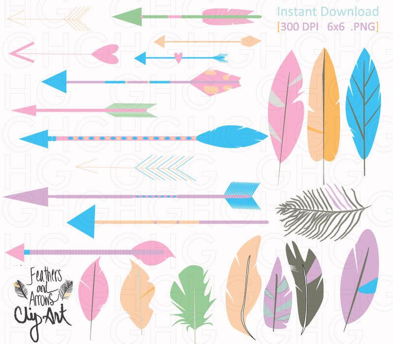 Tribal arrows and pastel. Feathers clipart arrow