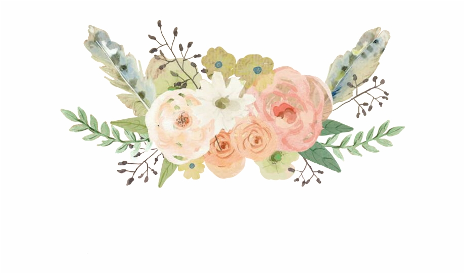 Flowers flores watercolor pastels. Feathers clipart flower