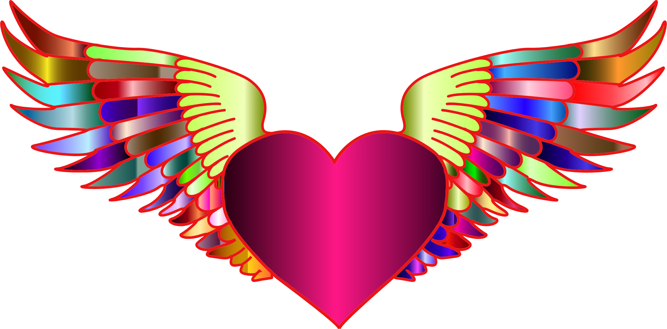 Prismatic flying big image. Wing clipart heart