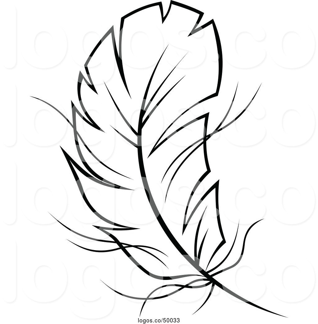 Feathers clipart outline. Feather drawing free download