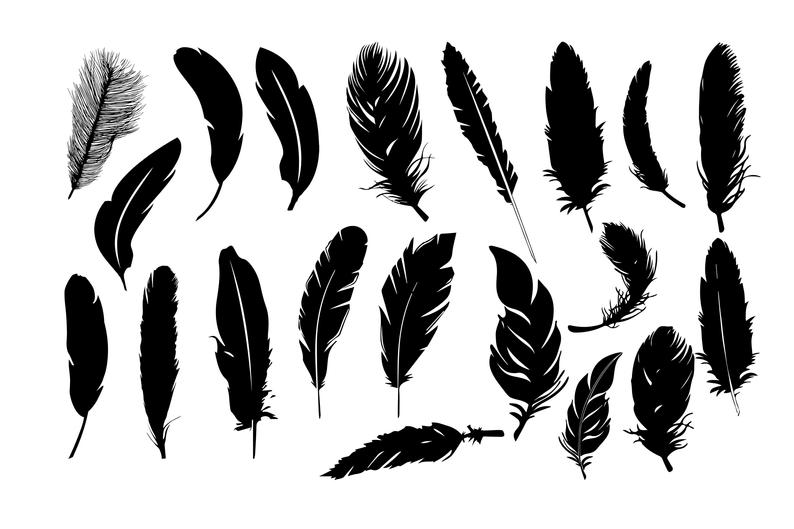 Feather silhouettes svg dxf. Feathers clipart silhouette