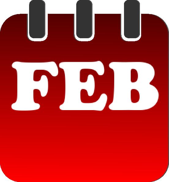 February clipart banner. Calendar heading jame png