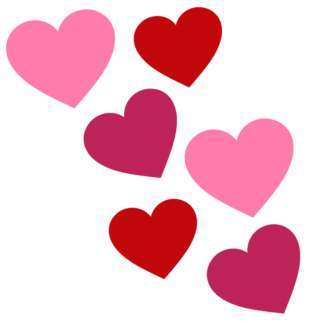 Valentines day hearts cartuning. February clipart cluster heart