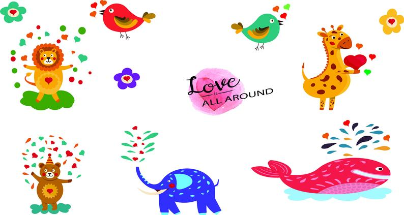 Valentines day clip art. February clipart cute button