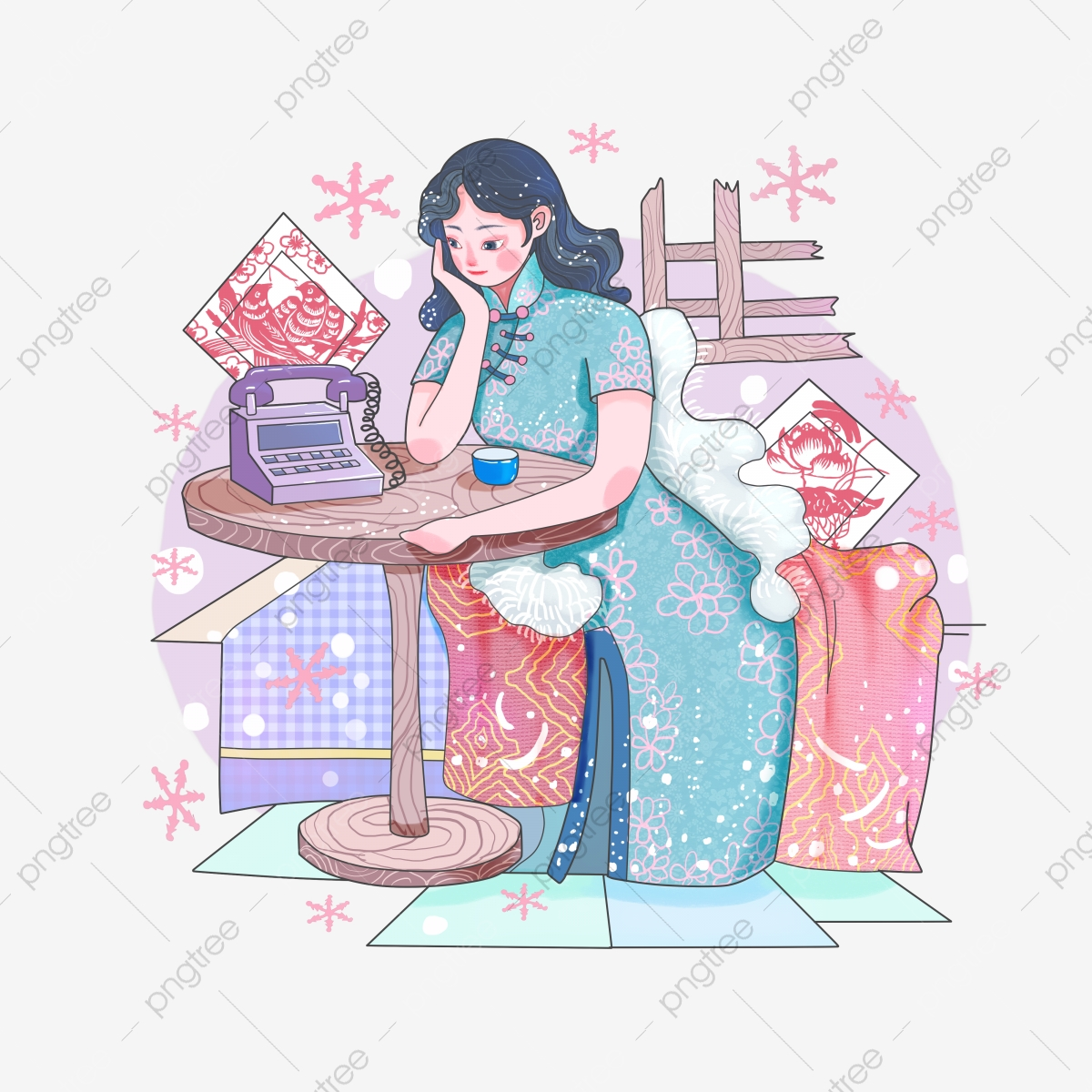 South northern cheongsam miss. February clipart early