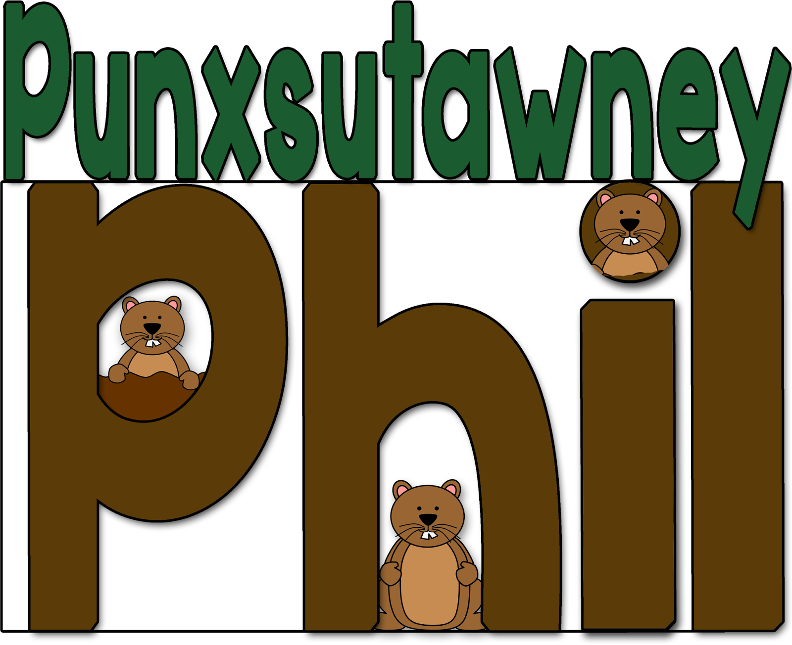 February clipart groundhog shadow. Phil whole word color
