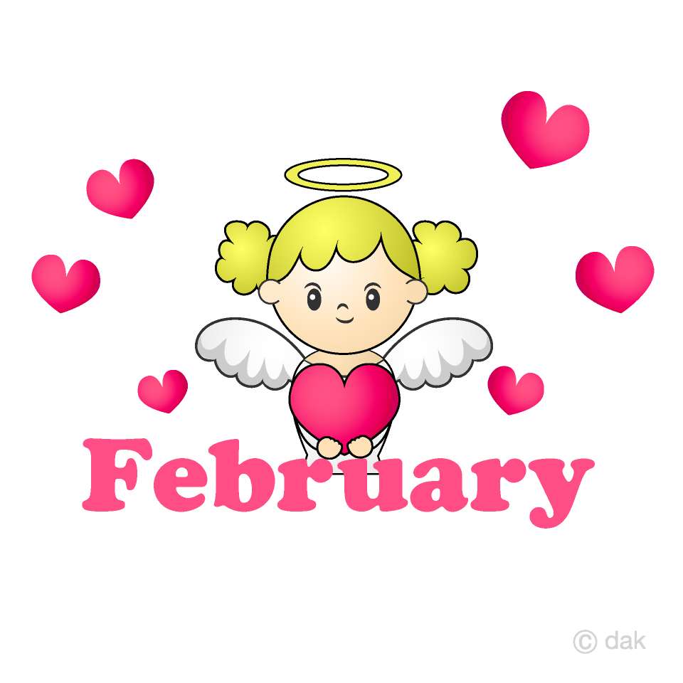 February clipart many heart. Angel free picture illustoon