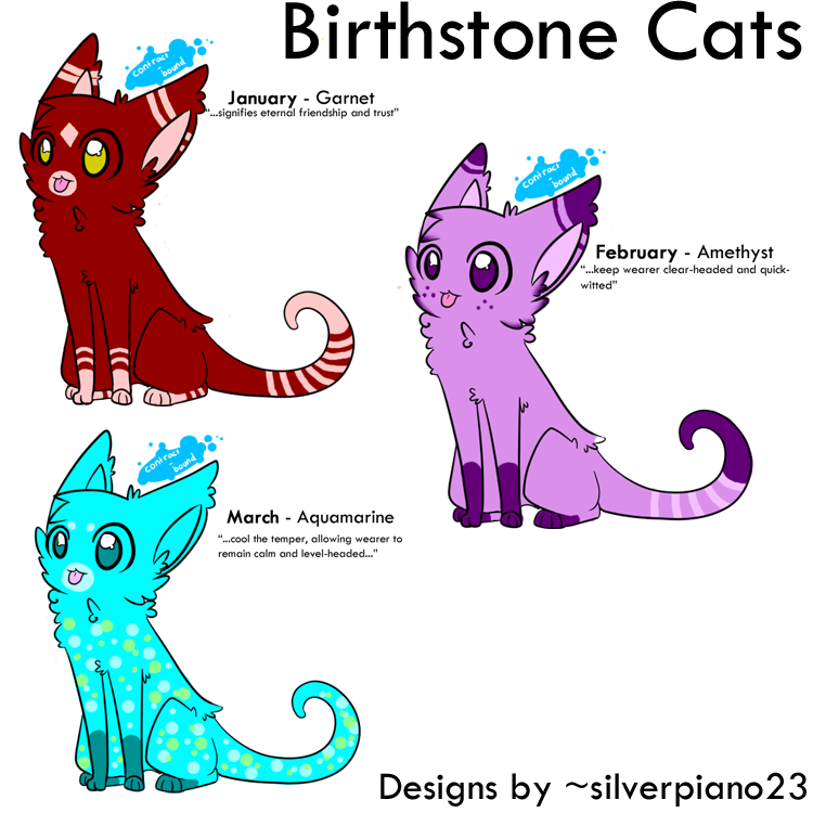 Birthstone cats january february. March clipart june month
