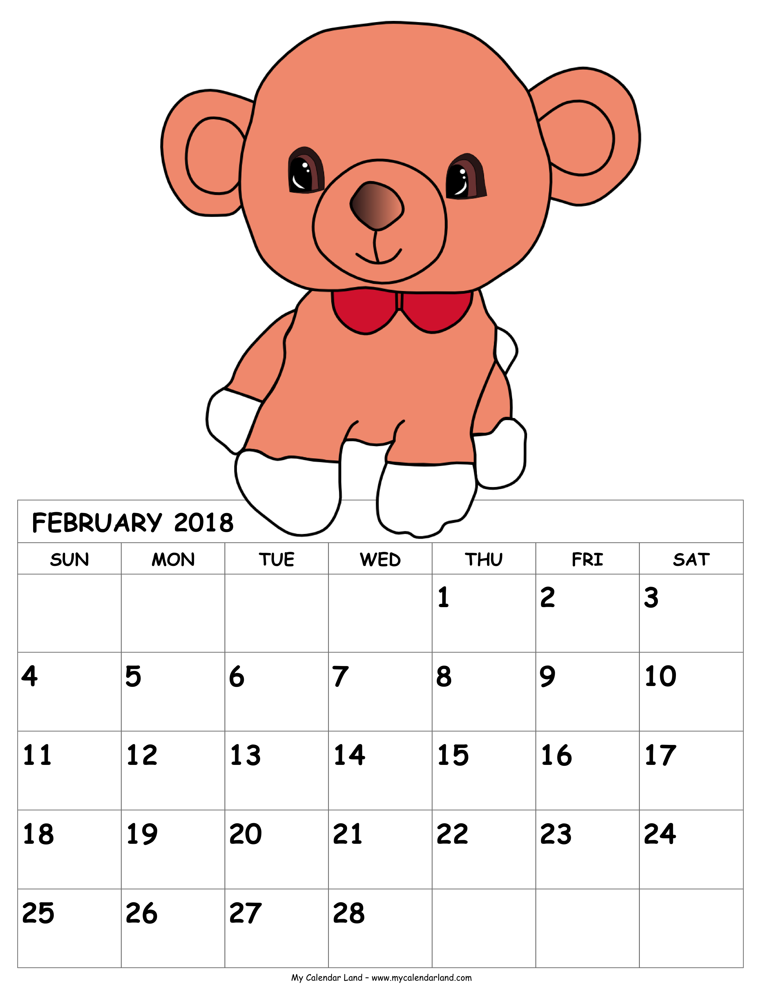 February clipart month name. Calendar my land printable
