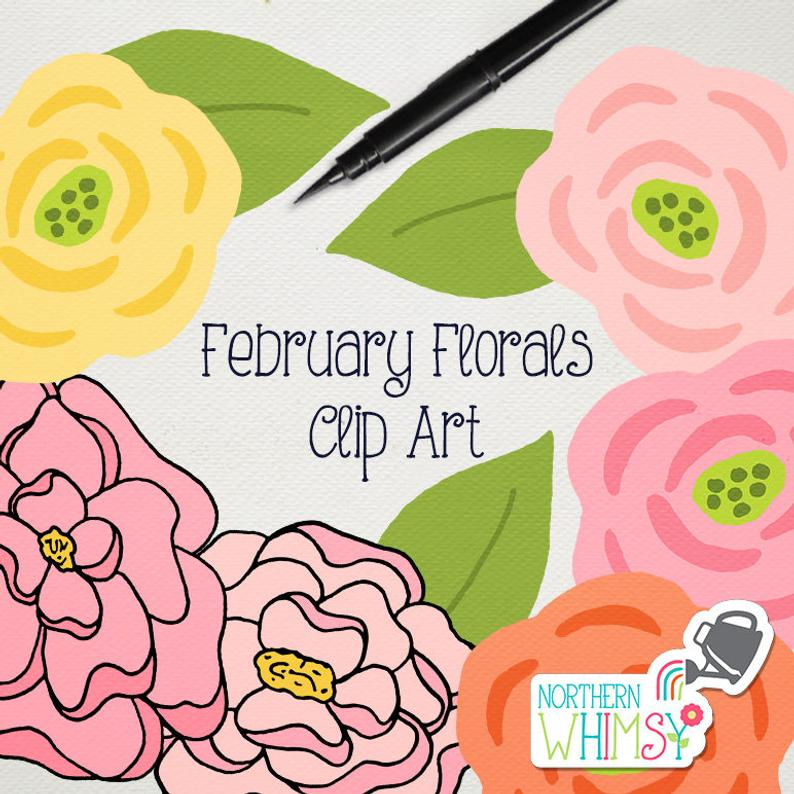 February clipart sign. Flower clip art floral